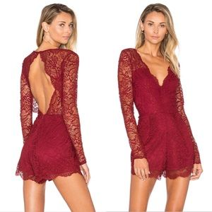 Lovers + Friends Burgundy Red Eve Lace Romper XS